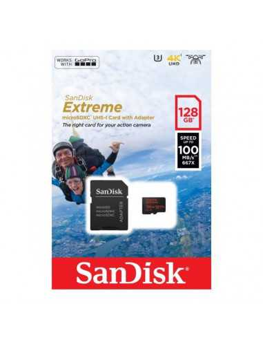 Memory card for action cameras SanDisk Extreme microSD 128GB+Adapter