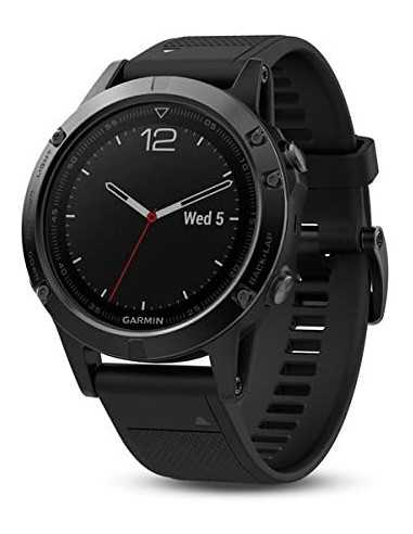 Laikrodis Garmin Fenix 5 Black Sapphite su juodu dirželiu