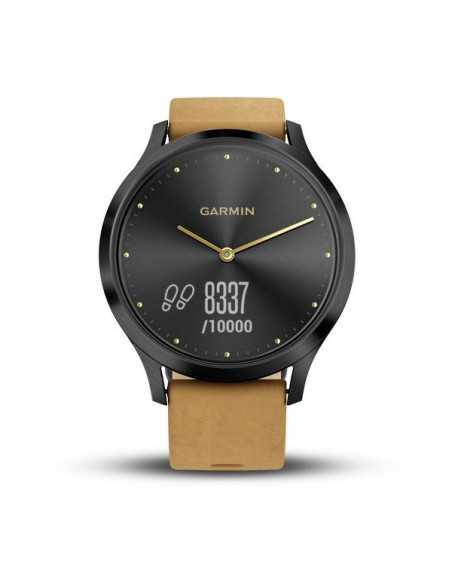 Garmin Vivomove HR Premium Onyx Black Stainless Steel Case with Tan Suede Band