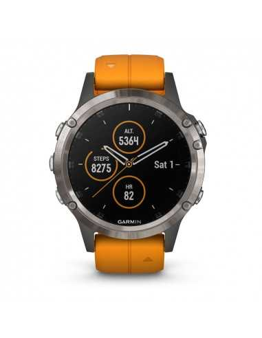 Garmin fenix 5 Plus Sapphire Titanium Orange Band